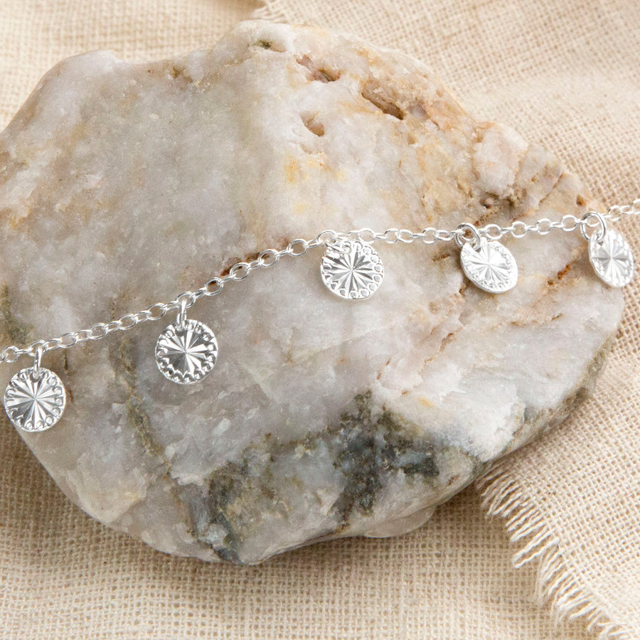 Sterling Silver Diamond Disc Anklet