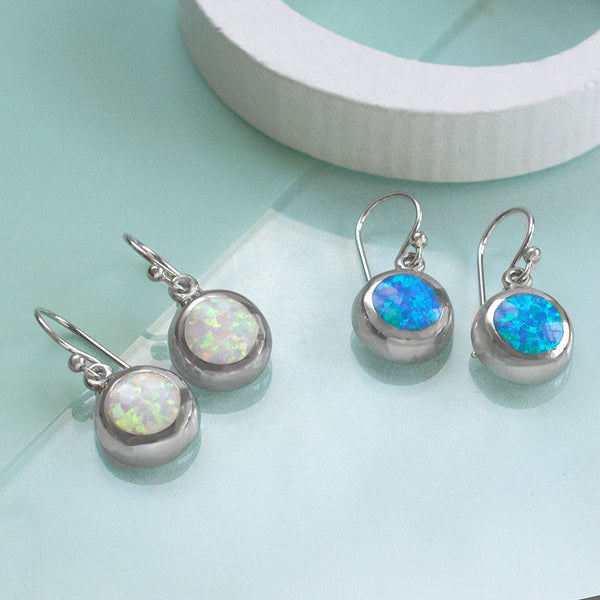 Sterling Silver Round Opal Earrings