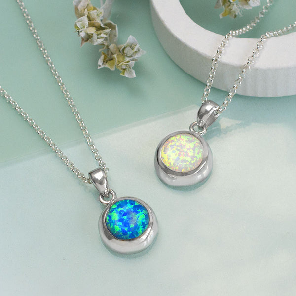 Sterling Silver Round Opal Necklace