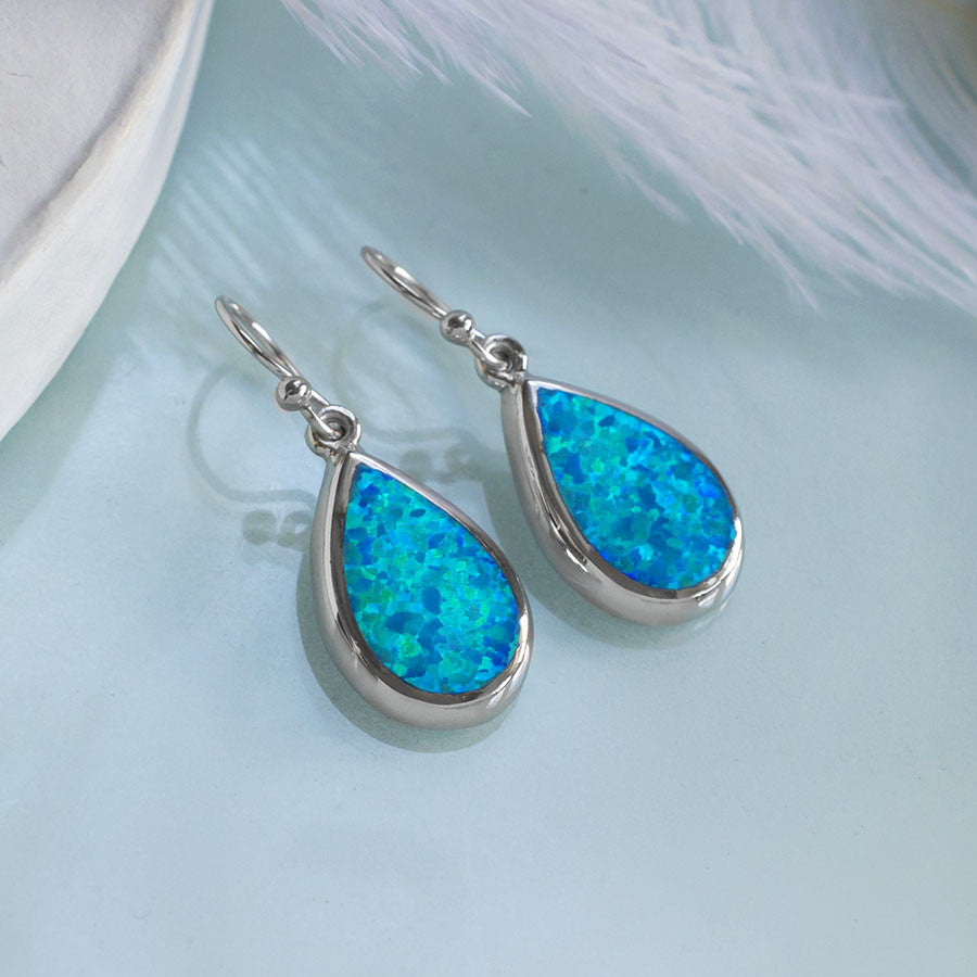 Sterling Silver Teardrop Opal Earrings
