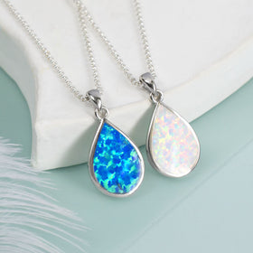 Sterling Silver Large Teardrop Opal Necklace