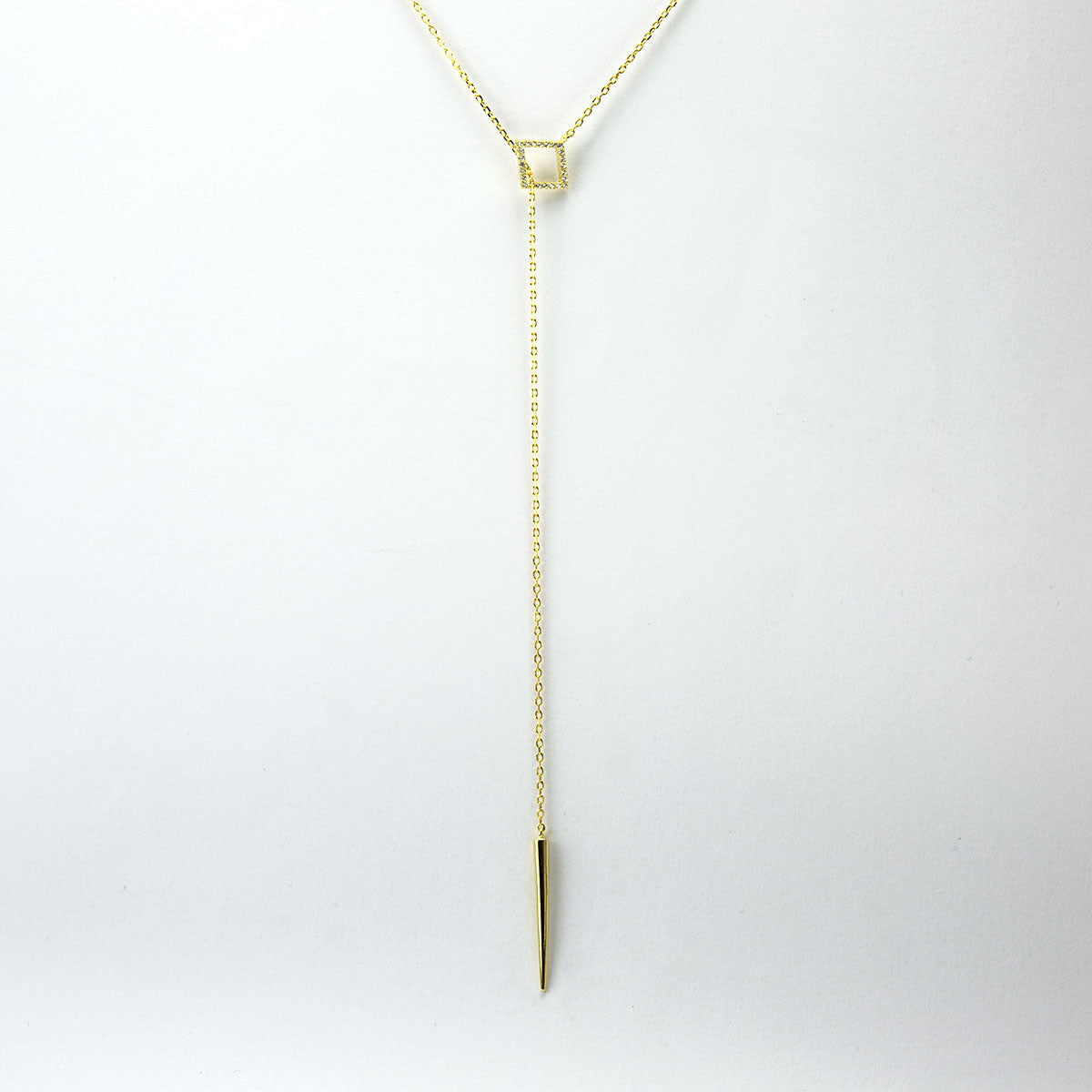 Sterling Silver Lariat Pavé Necklace