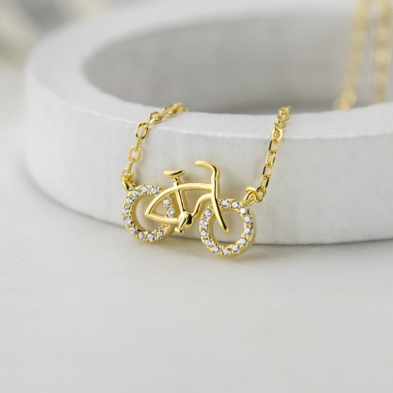Gold or Rose Gold Plated Pavé Bicycle Necklace