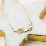 Sterling Silver Pavé Stars Necklace