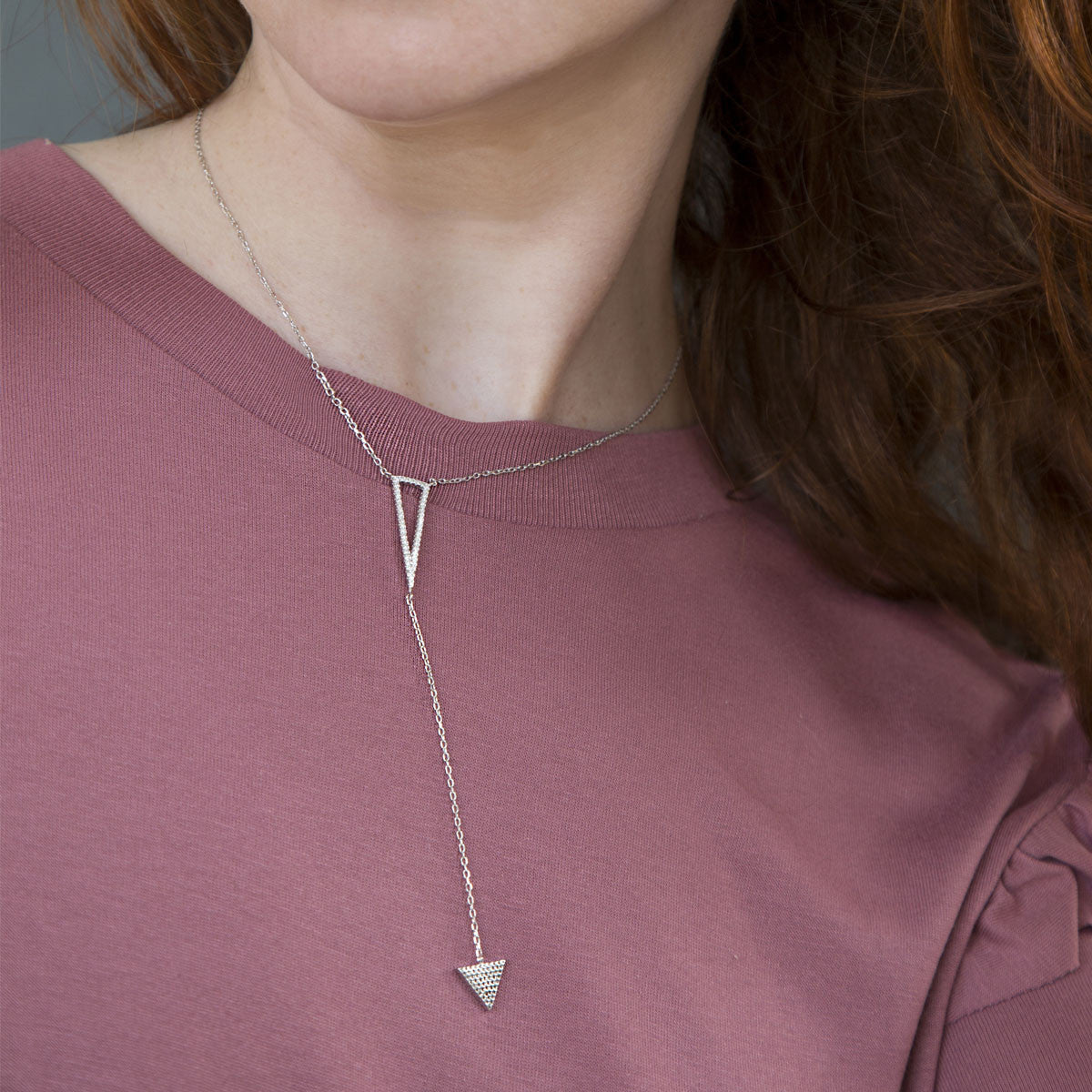 Sterling Silver Pavé Triangle Drop Necklace