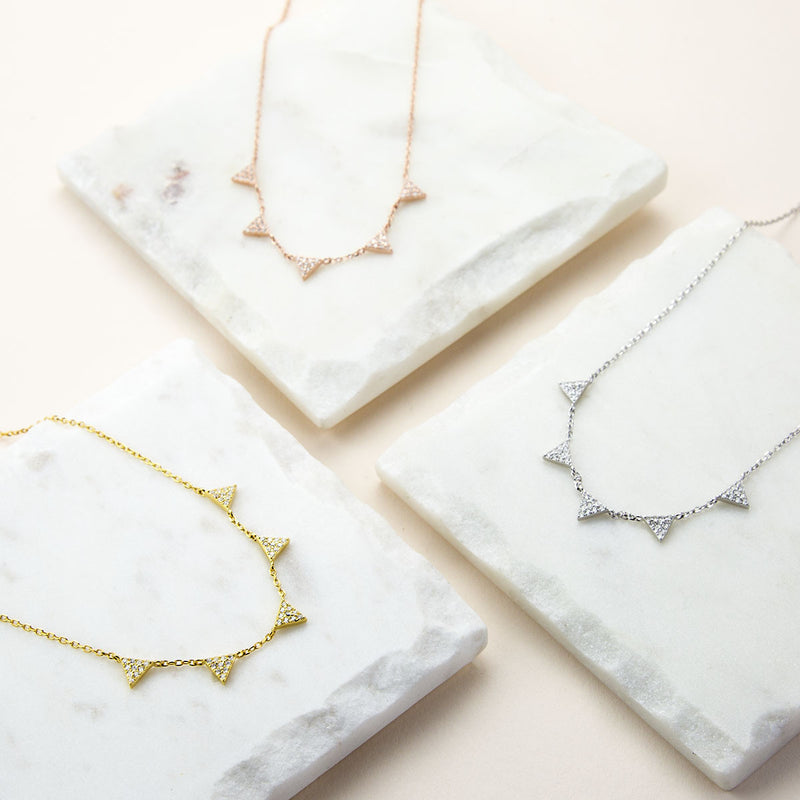 Sterling Silver Pavé Triangles Necklace