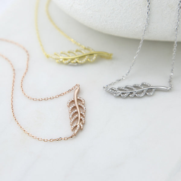 Sterling Silver Pavé Fern Necklace