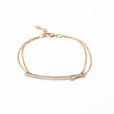 Sterling Silver Pavé Long Bar Bracelet