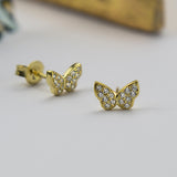 Sterling Silver Pavé Butterfly Stud Earrings