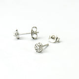 Sterling Silver Stone Set Rose Stud Earrings