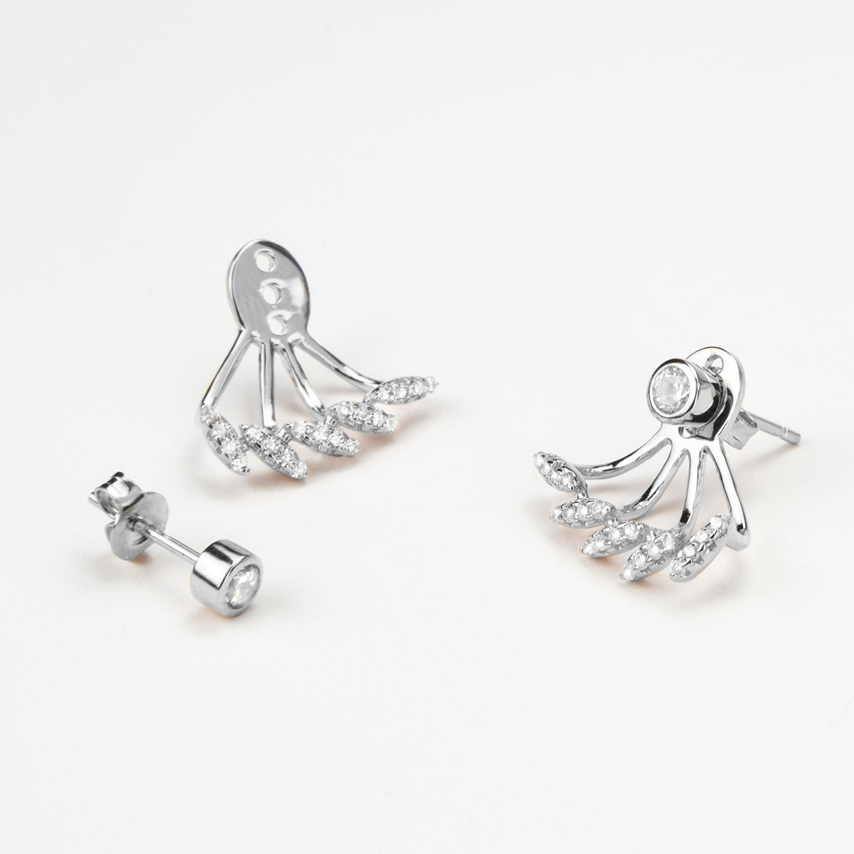 Sterling Silver Pavé Bars Ear Jackets