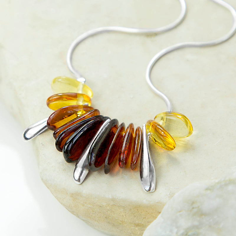 Sterling Silver and Amber Designer Necklace