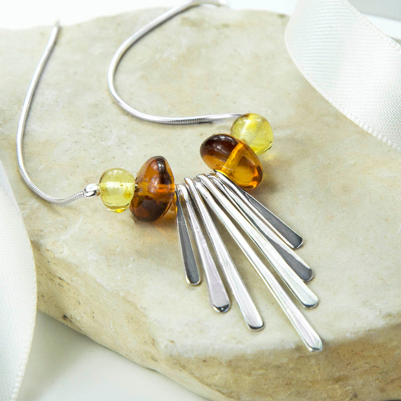 Sterling Silver Art Deco Amber Necklace
