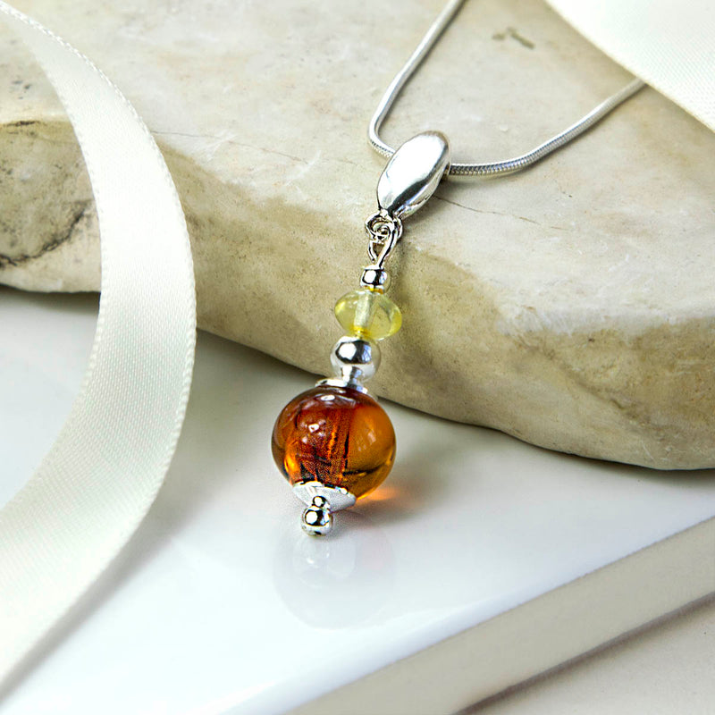 Sterling Silver Amber Font Necklace