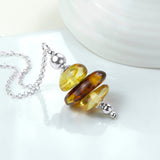 Sterling Silver Amber Cluster Necklace