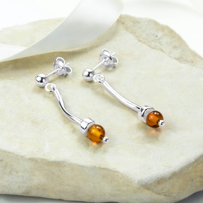 Sterling Silver Contemporary Amber Stud Drop Earrings