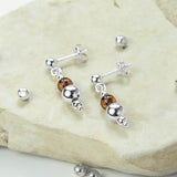 Sterling Silver Delicate Amber Stud Drop Earrings
