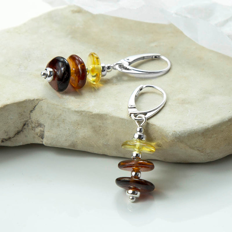 Sterling Silver Tricolour Amber Drop Earrings