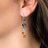 Sterling Silver Amber Rose Earrings