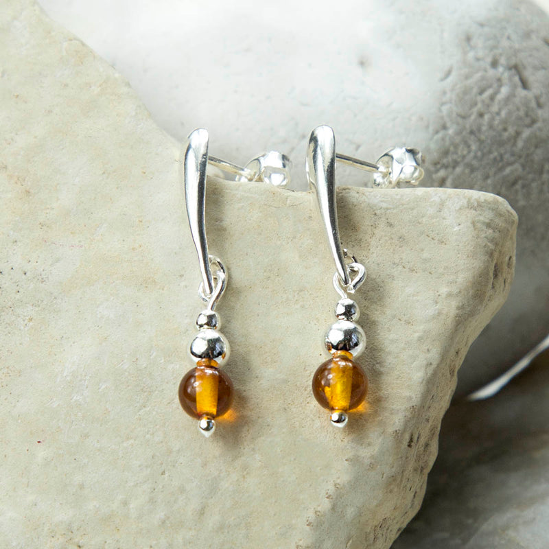 Sterling Teardrop Silver Amber Drop Stud Earrings