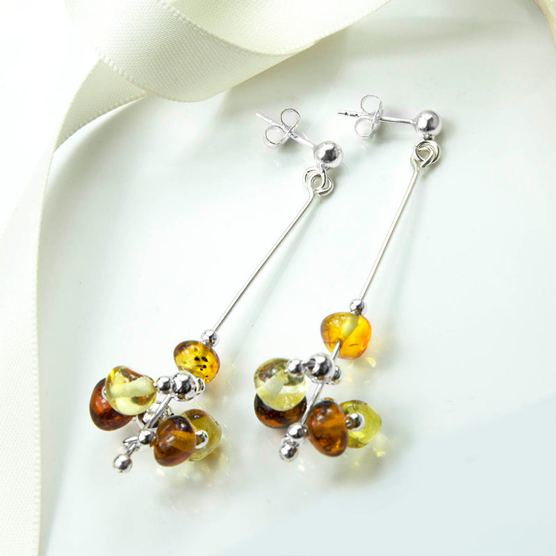 Sterling Silver Spiral Amber Cluster Earrings