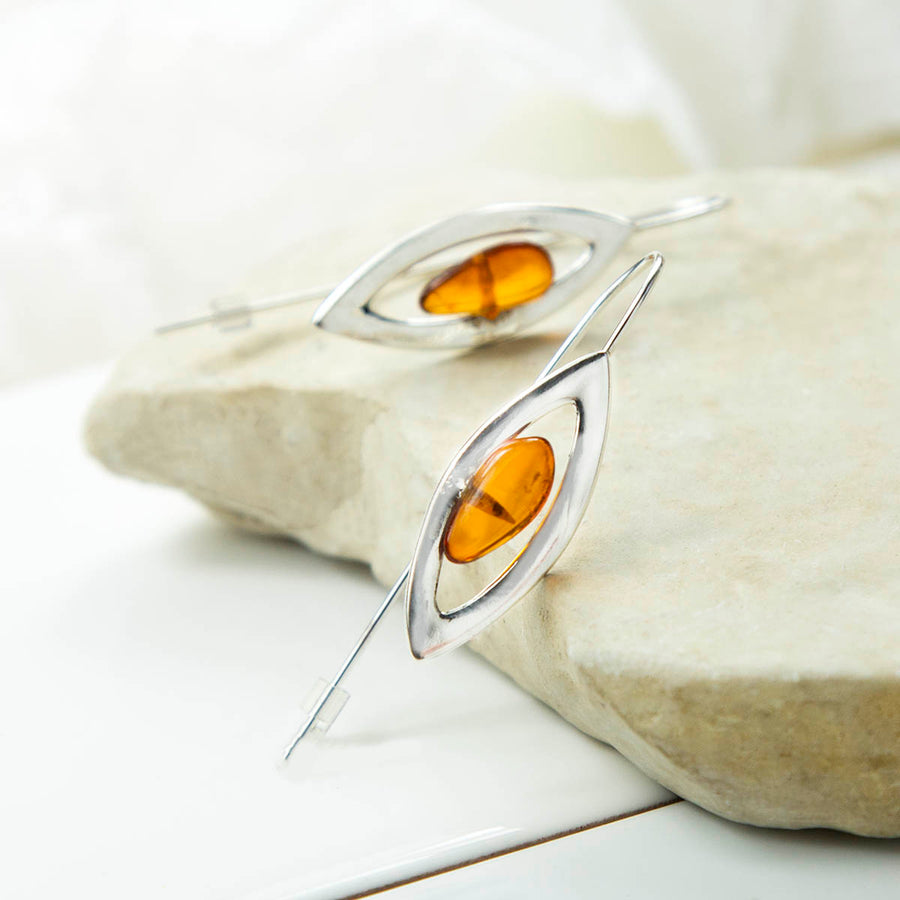 Sterling Silver Designer Amber Earrings