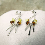 Sterling Silver Art Deco Amber Stud earrings