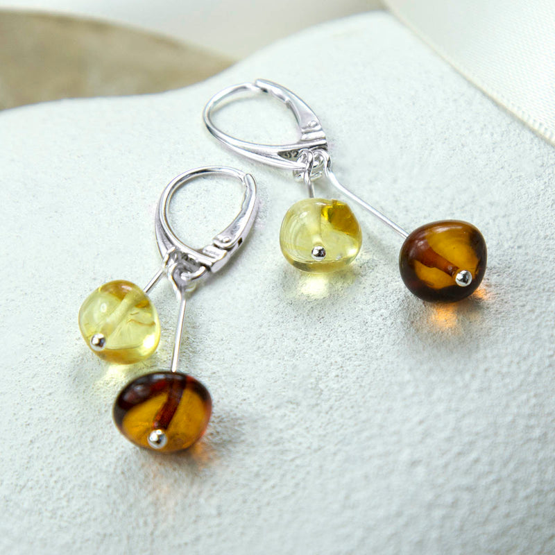 Sterling Silver Amber Drop Bar Earrings