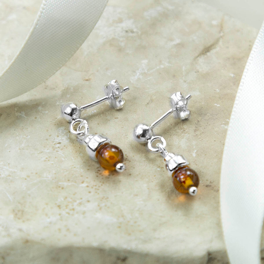Sterling Silver Amber Petite Stud Drop Earrings