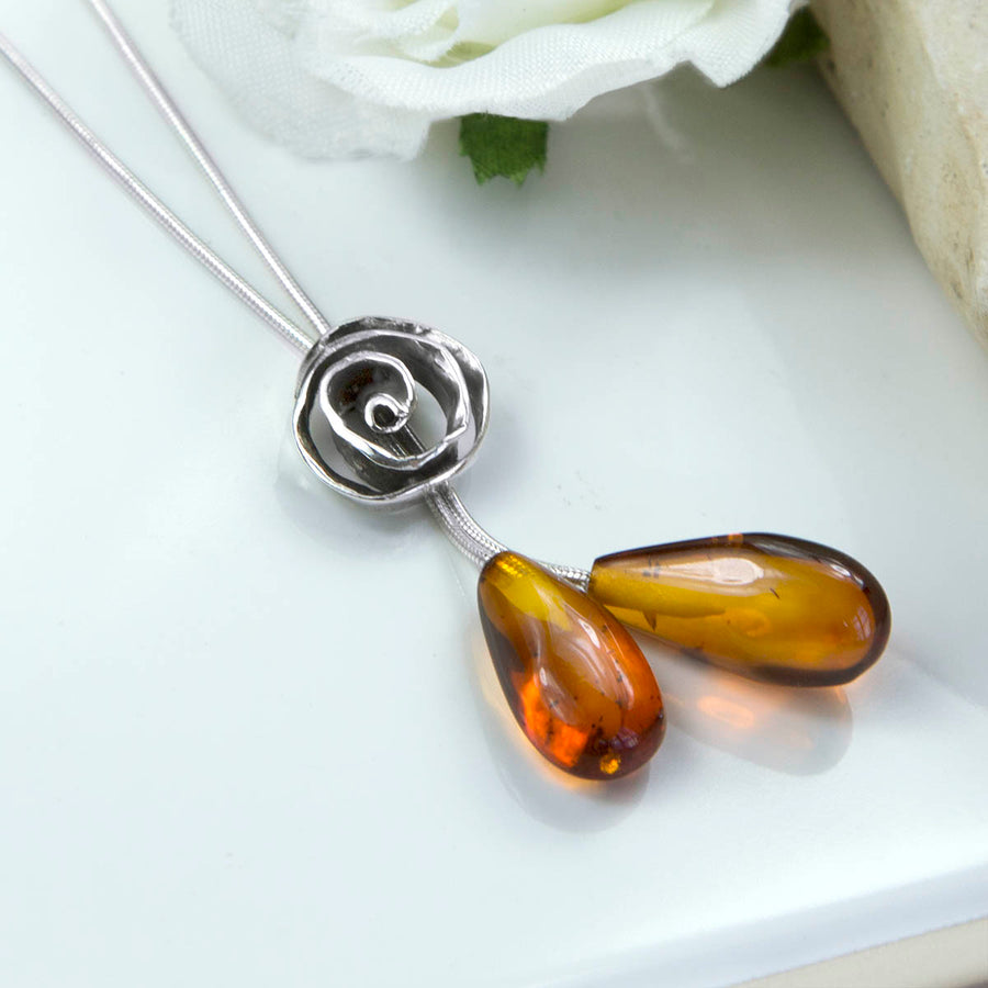 Sterling Silver Amber Rose Necklace