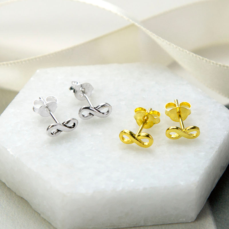 Silver and Gold Infinity Stud Earrings