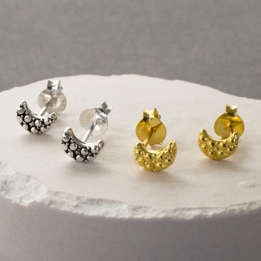 Silver and Gold Moon Stud Earrings