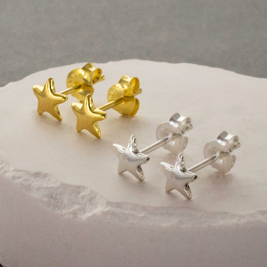 Silver and Gold Star Stud Earrings