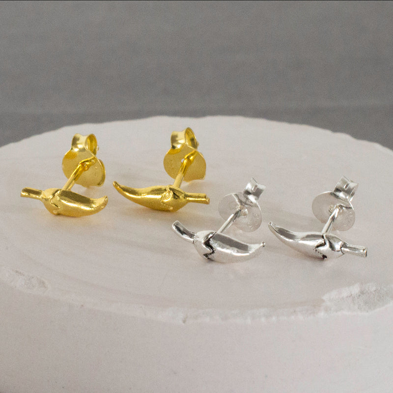 Silver and Gold Chilli Stud Earrings