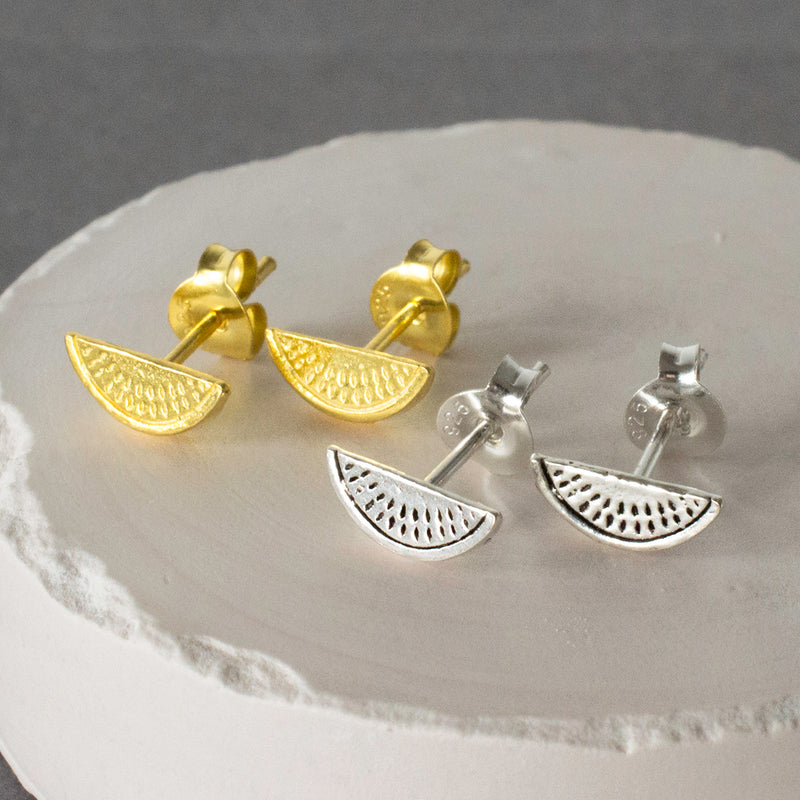 Silver and Gold Watermelon Stud Earrings