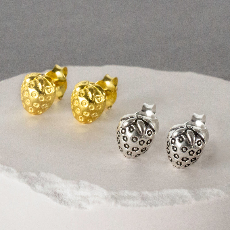 Silver and Gold Strawberry Stud Earrings