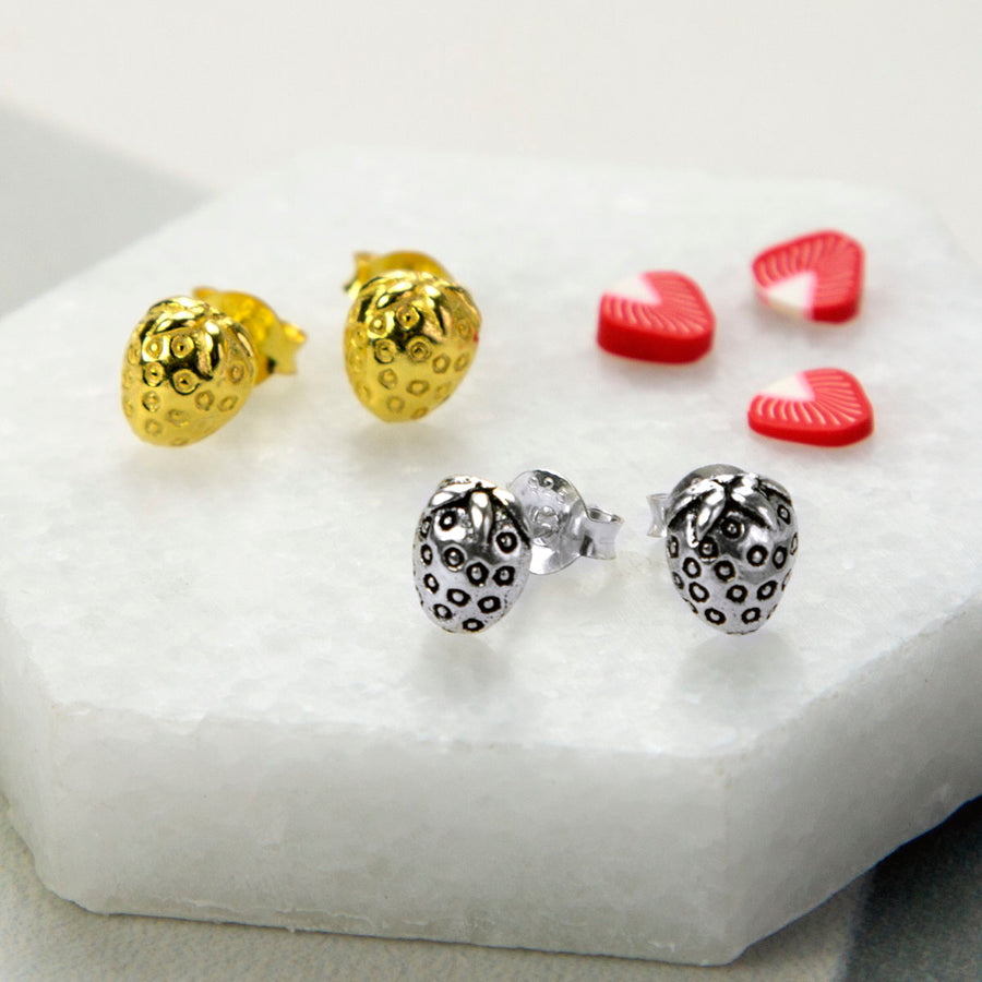 stud food earrings strawberry muchogrande item miniature jewelry sugarcharmshop