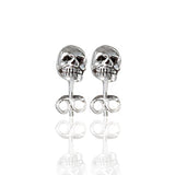 sterling silver mini skull studs showing teeth detail