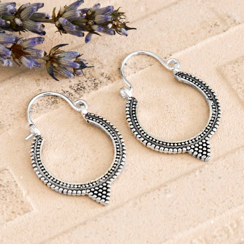 Sterling Silver Tipped Harbala Hoops