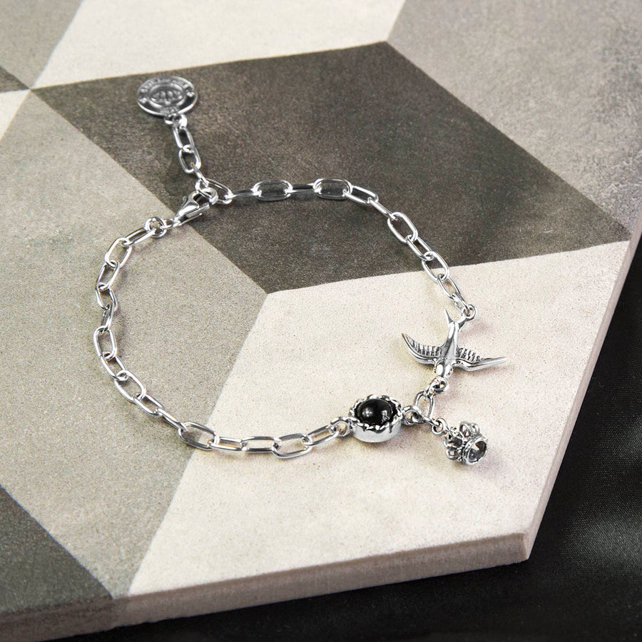 Sterling Silver Crowns and Swallow Bracelet
