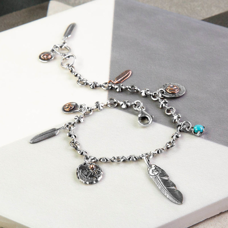 Sterling Silver Feathers Charm Bracelet