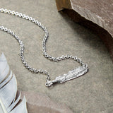 Oxidised Sterling Silver Two Feather Necklace