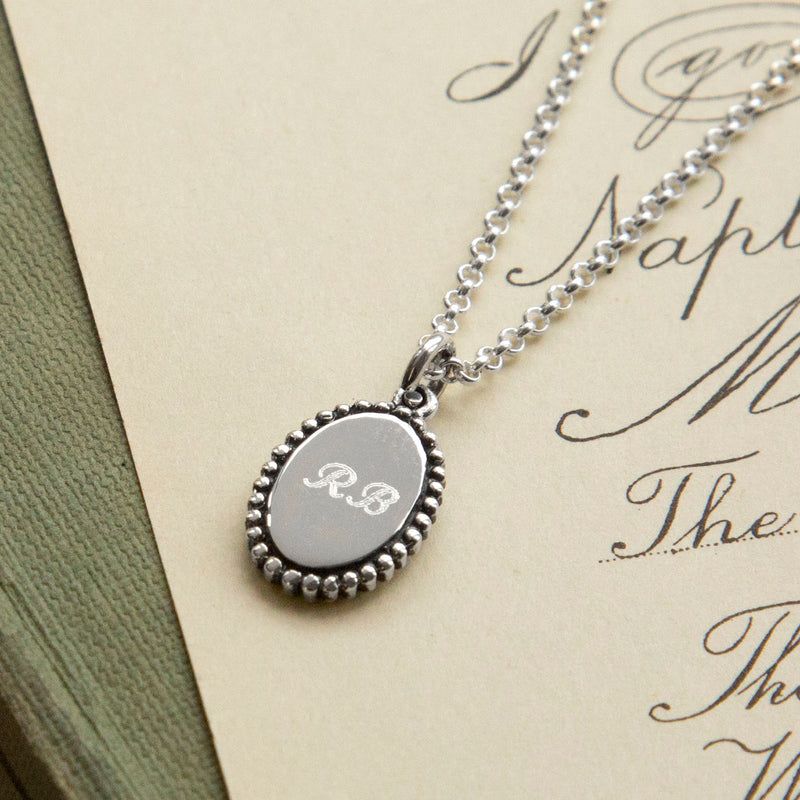 Personalized Sterling Silver Petite Oval Pendant