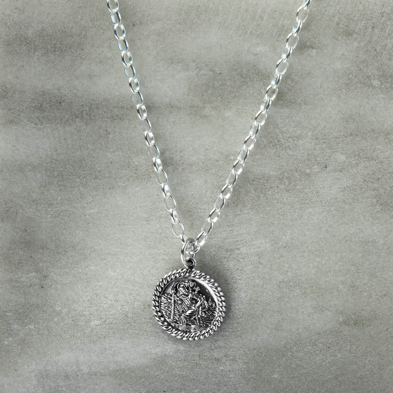 Engravable Sterling Silver Round St Christopher Necklace
