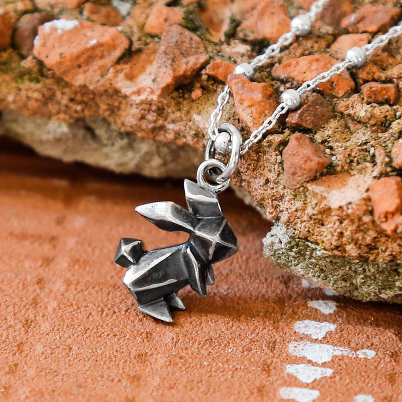 Sterling Silver Oxidised Origami Bunny Necklace