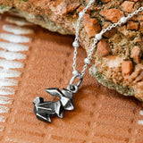 Oxidised Origami Bunny Necklace