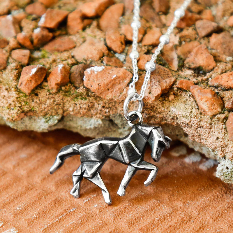 Sterling Silver Oxidised Origami Horse Necklace