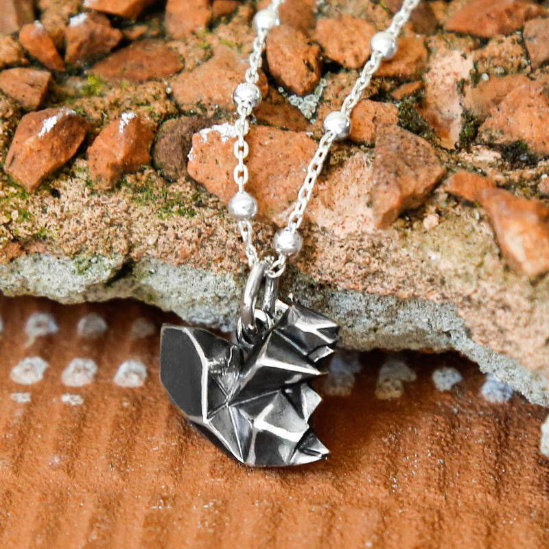 Sterling Silver Oxidised Origami Squirrel Necklace