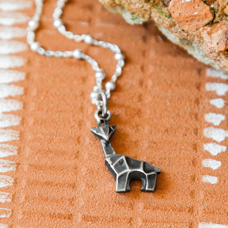 Sterling Silver Oxidised Origami Giraffe Necklace