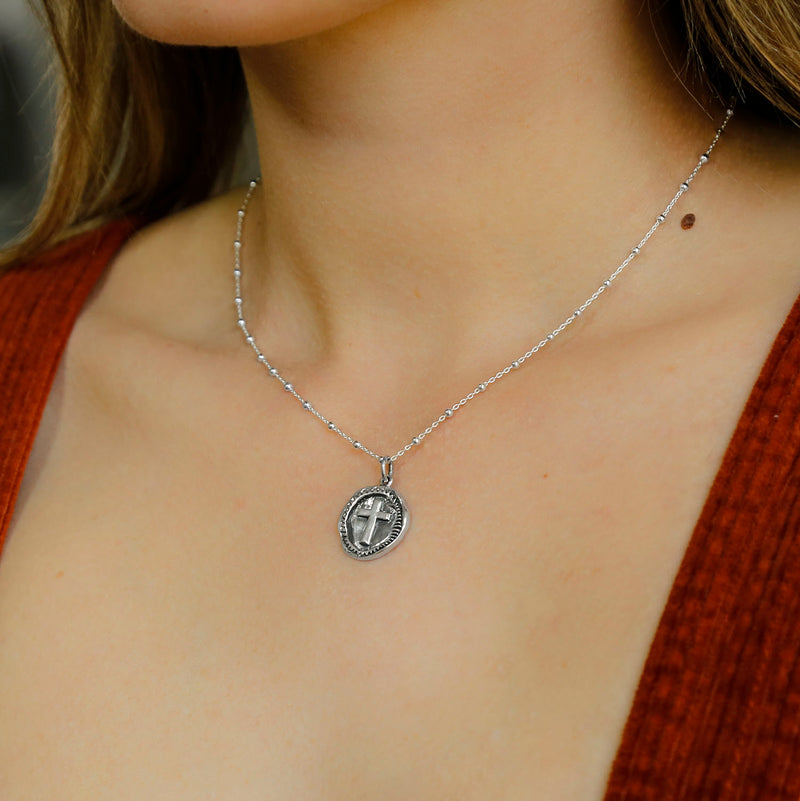 Sterling Silver Cross Coin Necklace